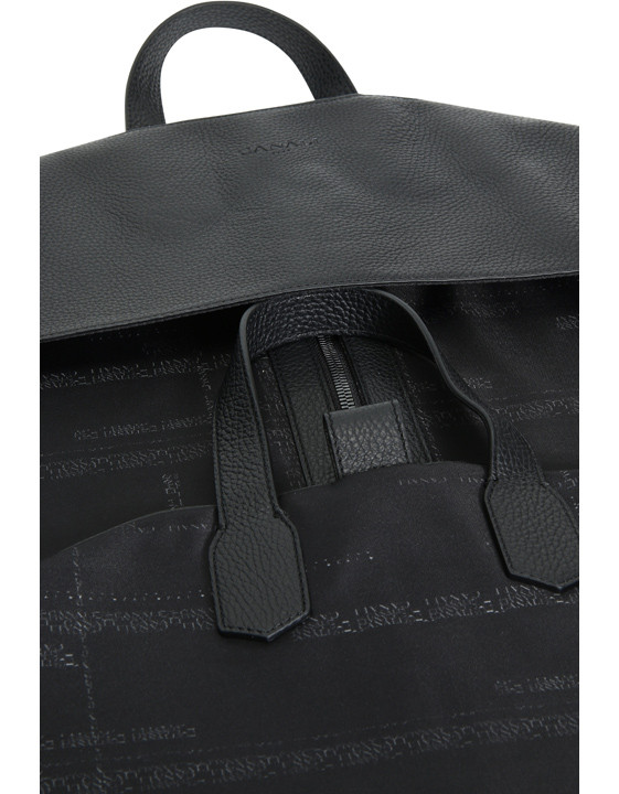 Canali Black calfskin garment bag with technical fabric insert-2_3