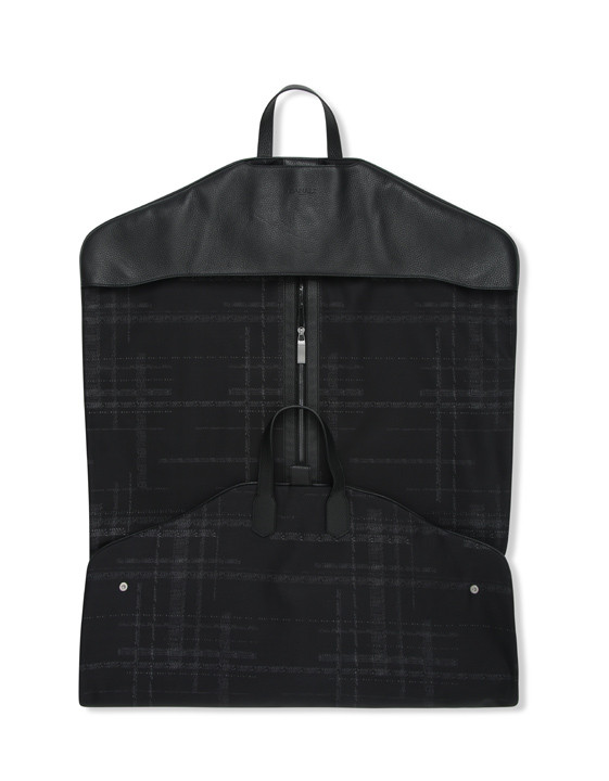 Canali Black calfskin garment bag with technical fabric insert-2_2