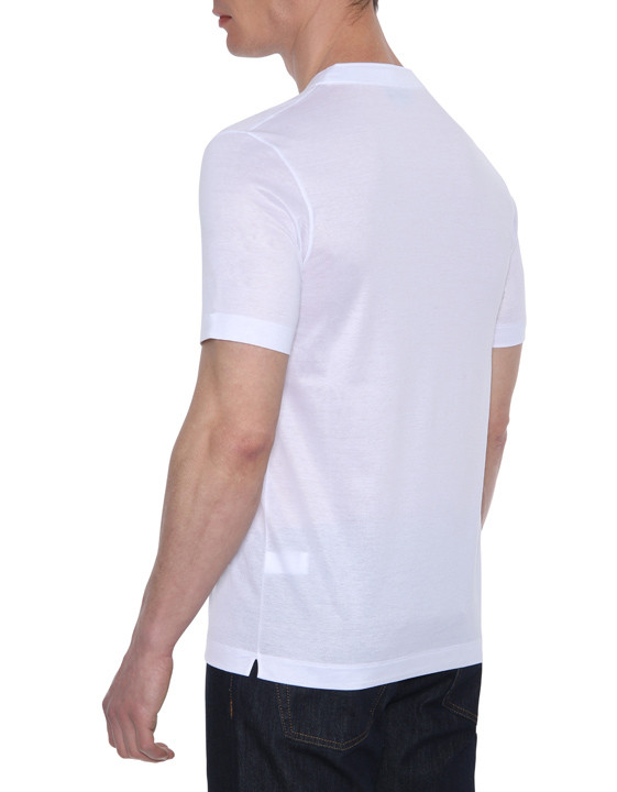 Canali White mercerized cotton jersey T-shirt-2_2