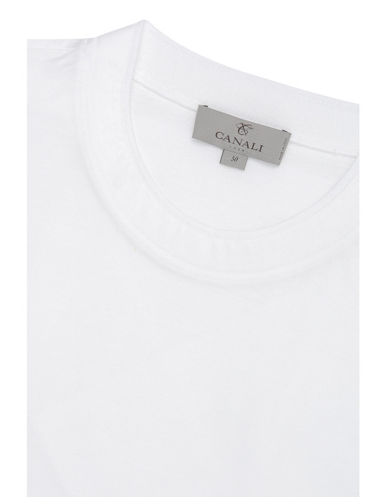 Canali White mercerized cotton t-shirt-2_2
