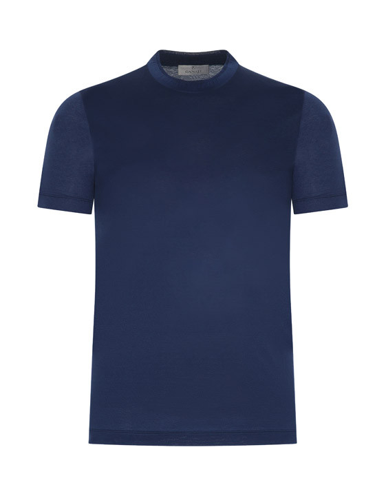 Canali Navy blue mercerized cotton t-shirt-2_0