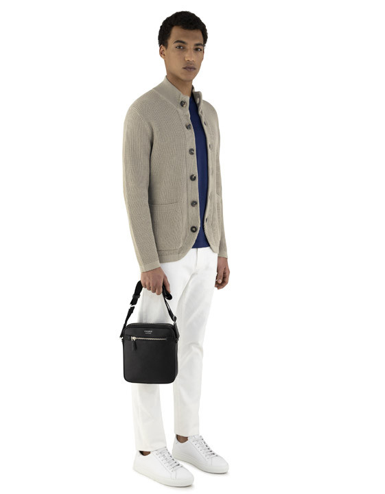 Canali Navy blue mercerized cotton t-shirt-2_1