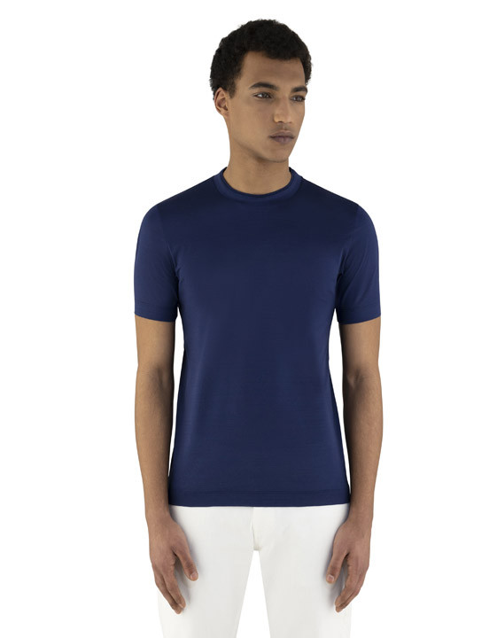 Canali Navy blue mercerized cotton t-shirt-2_2