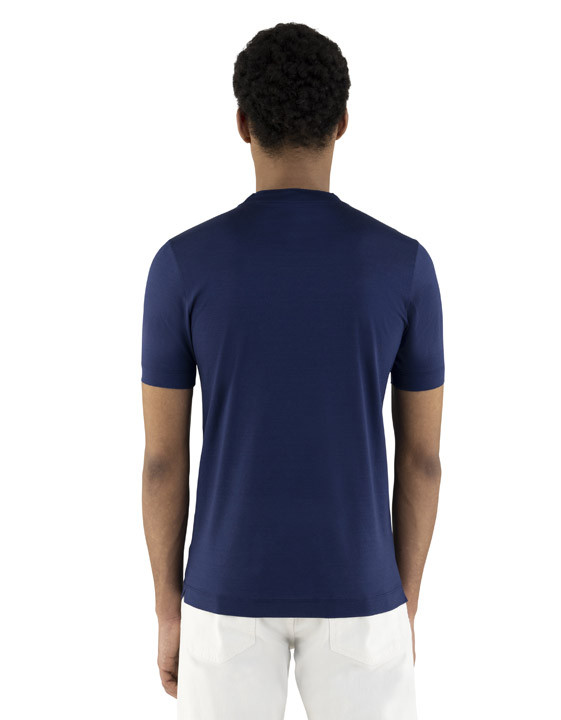 Canali Navy blue mercerized cotton t-shirt-2_3
