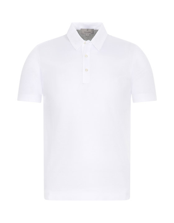 Canali Cotton piquet jersey polo shirt white-2_0