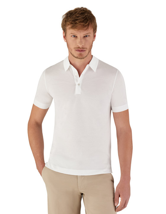 Canali Cotton piquet jersey polo shirt white-2_2
