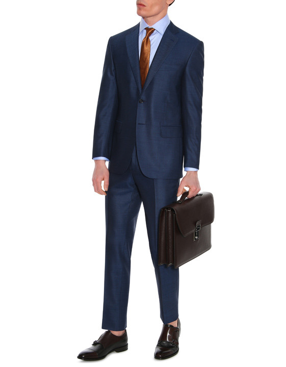 Canali Navy Exclusive suit with pin dot motif in Super 160's wool-2_0