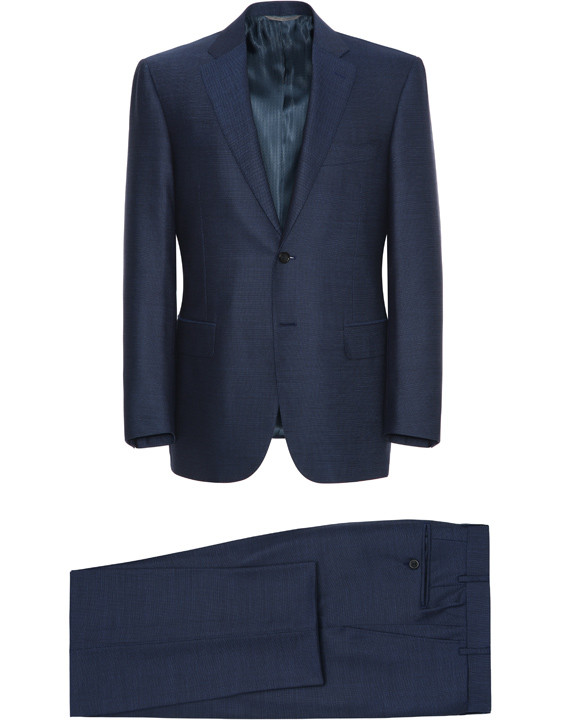 Canali Navy Exclusive suit with pin dot motif in Super 160's wool-2_1