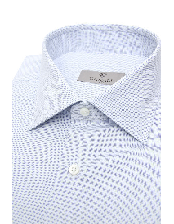 Canali Micropois cotton modern fit shirt white and blue-2_2