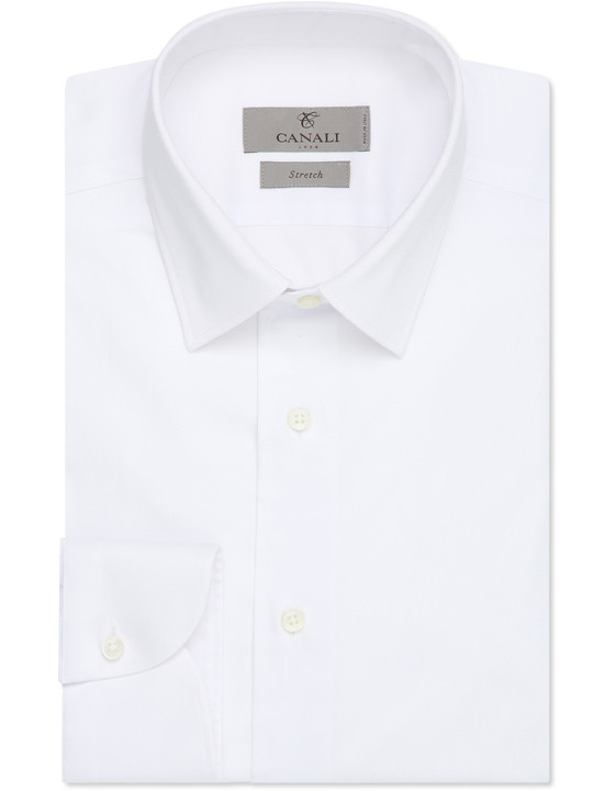 Canali White stretch cotton slim fit dress shirt-2_0