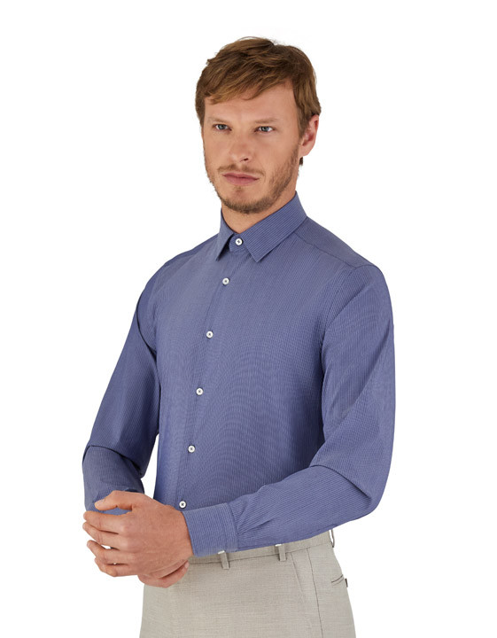 Canali Blue pinstripe motif dress shirt in cotton blend-2_1