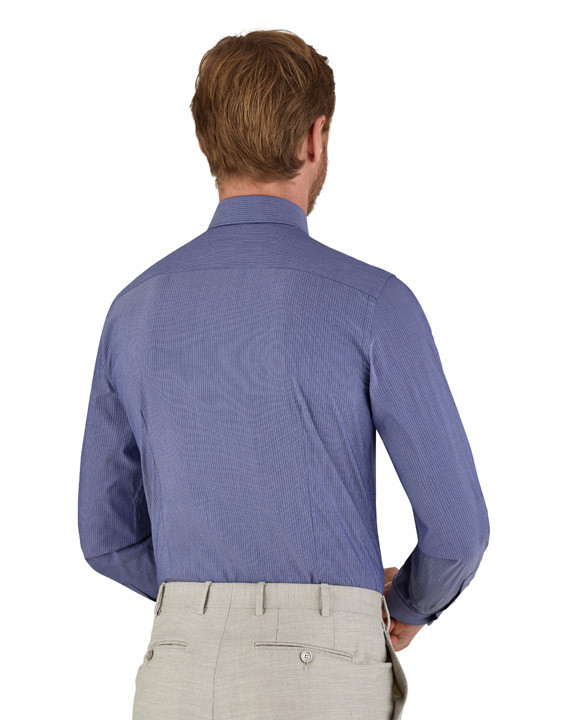 Canali Blue pinstripe motif dress shirt in cotton blend-2_2