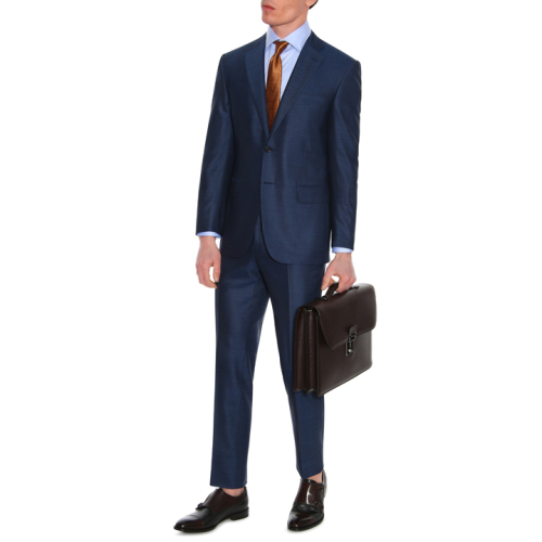 Navy suit with pin dot motif in Super 160's wool
