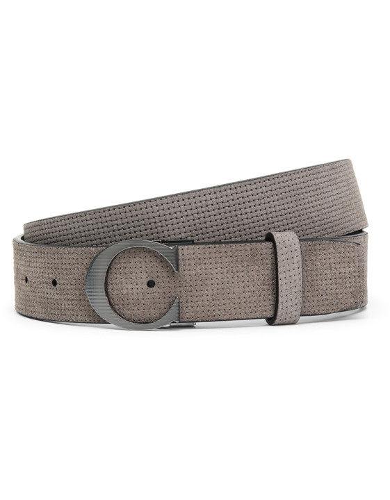 Gray sharp-cut calfskin with C buckle