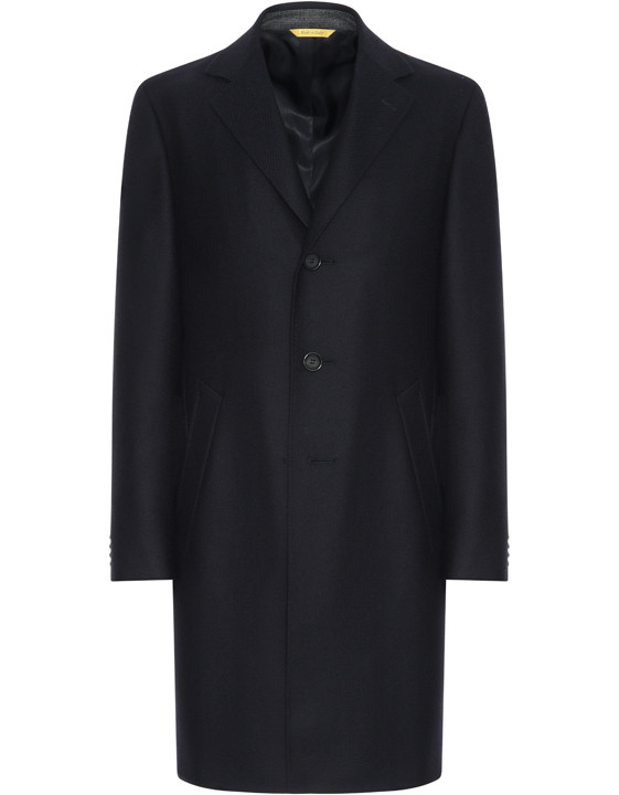 Dark blue water-resistant pure wool Kei overcoat with diagonal texture