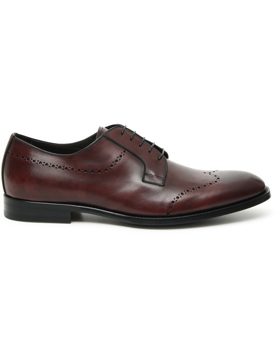 Burgundy hand-buffed calfskin derby
