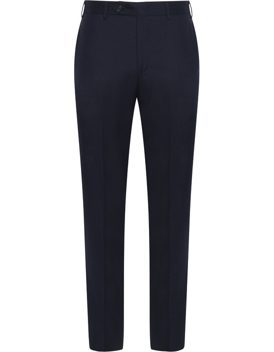 Navy blue pure wool flannel dress pants