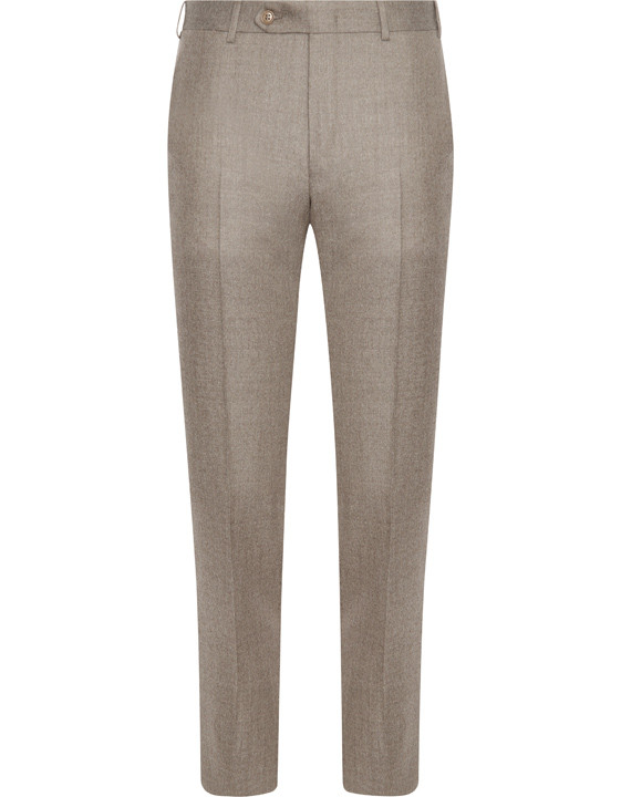 Dark beige pure wool flannel dress pants