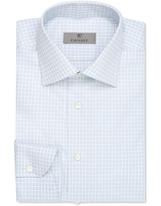 White and light blue micro check dress shirt in pure cotton