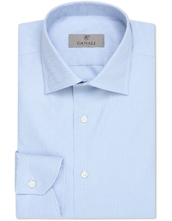Light blue dress shirt with gingham optical motif in pure cotton