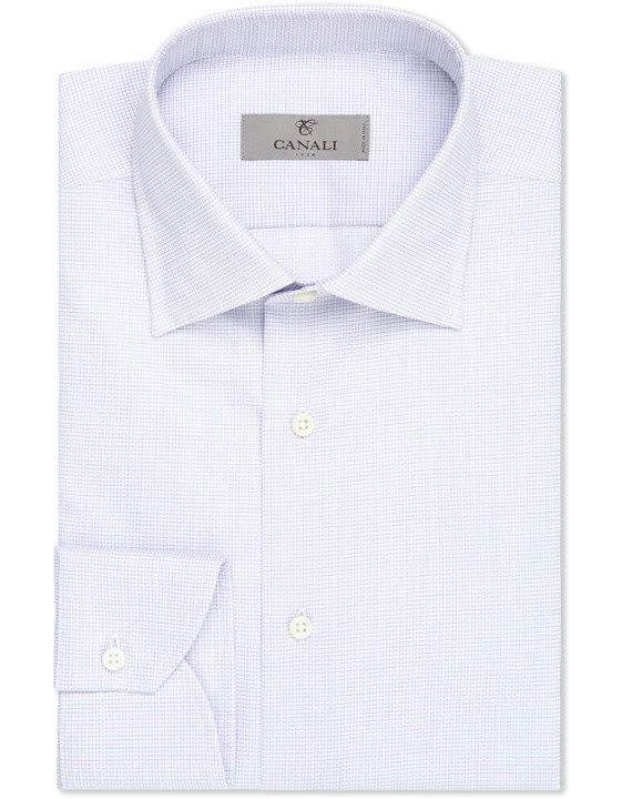 Pure cotton dress shirt with purple and blue checked motif