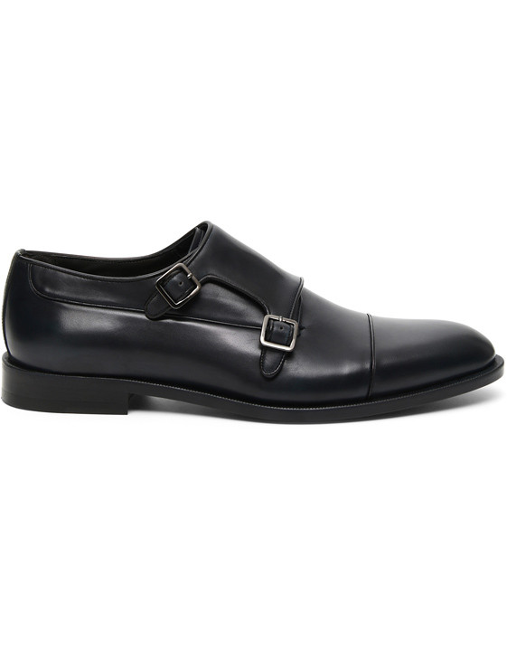 Navy double monk strap shoes in buffed calfskin
