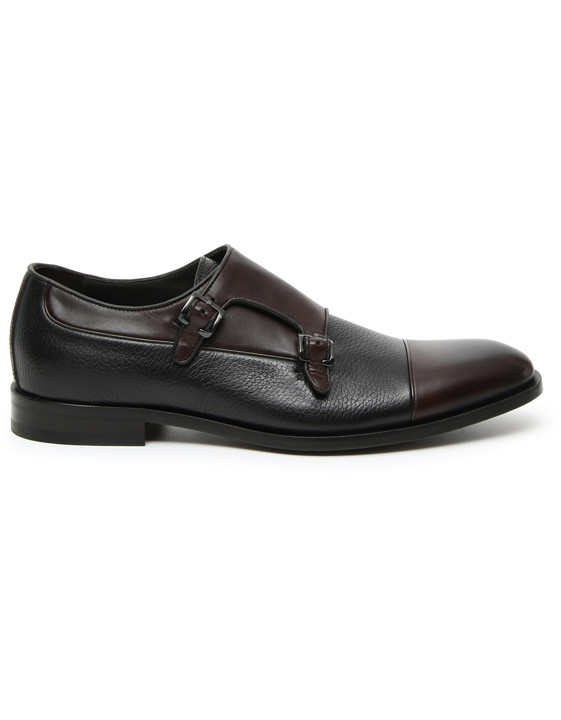Brown double monk straps in dual-textured leather