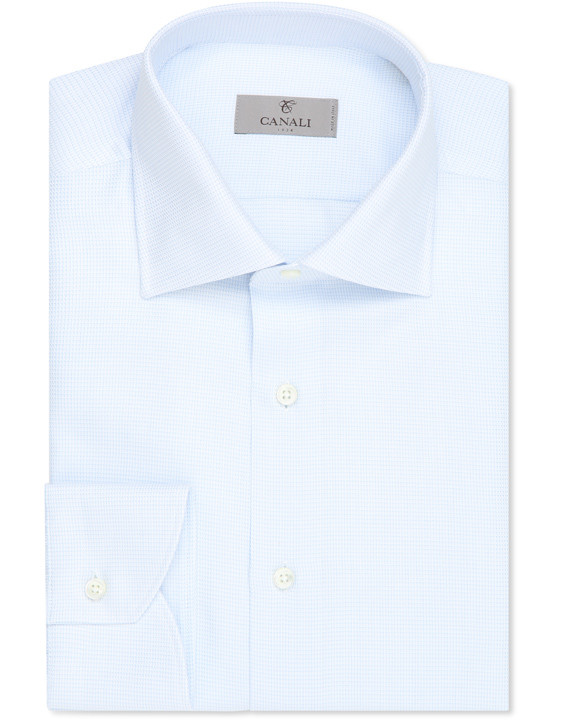 Microfancy cotton modern fit shirt white and light blue