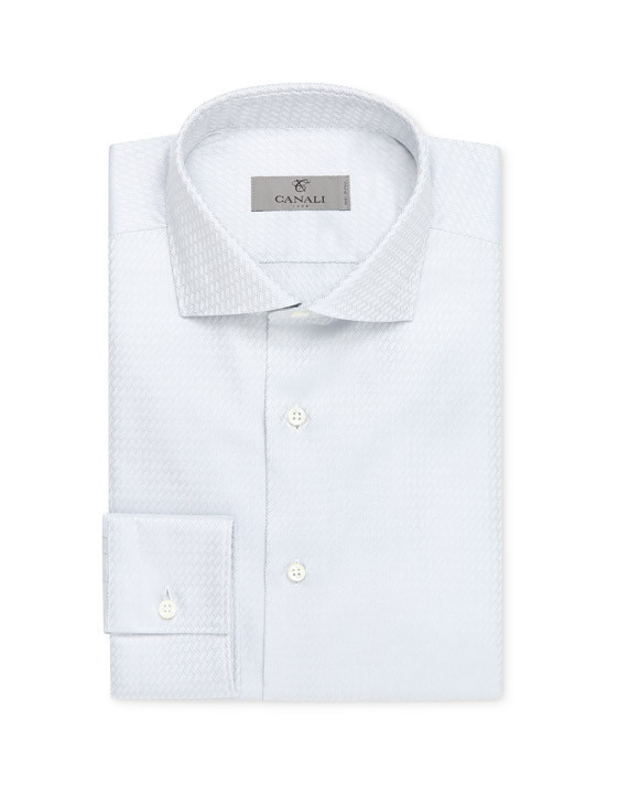 Light gray optical overlap dress shirt in pure cotton
