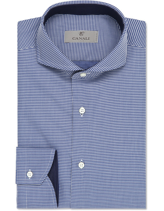 Navy and white cotton dress shirt with dotted effect