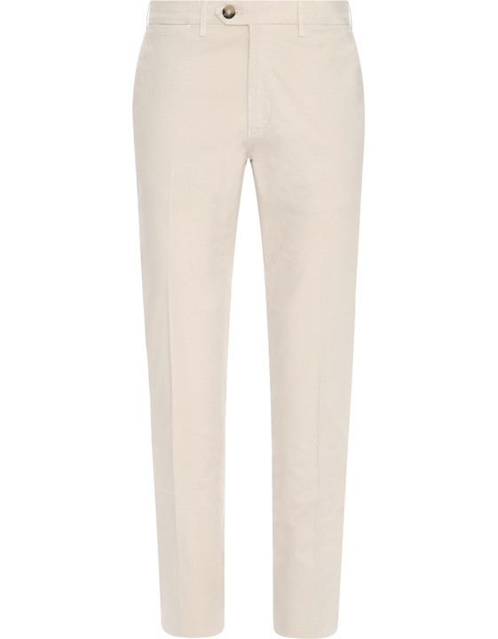 Beige chino pants in textured stretch-cotton