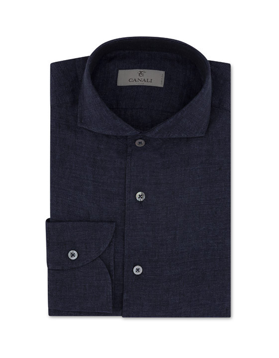 Dark blue slim fit linen shirt with French collar