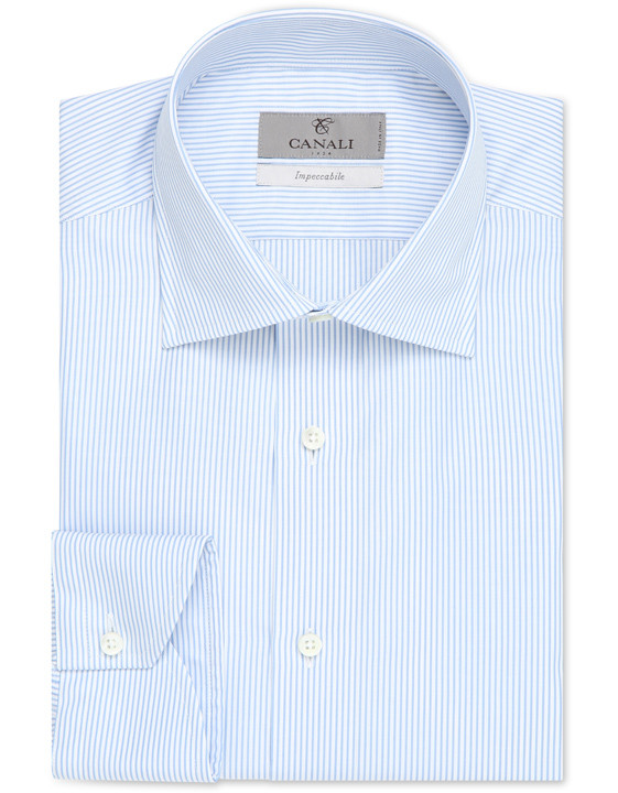 White and blue striped Impeccabile dress shirt in pure cotton