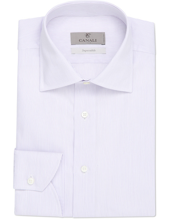 White and purple pinstriped Impeccabile dress shirt in pure cotton