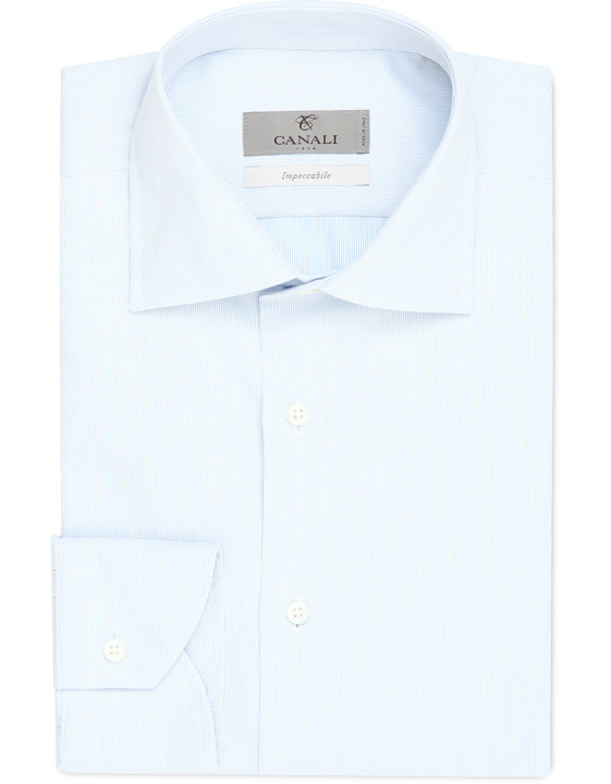 White and Light Blue Impeccabile cotton modern fit shirt