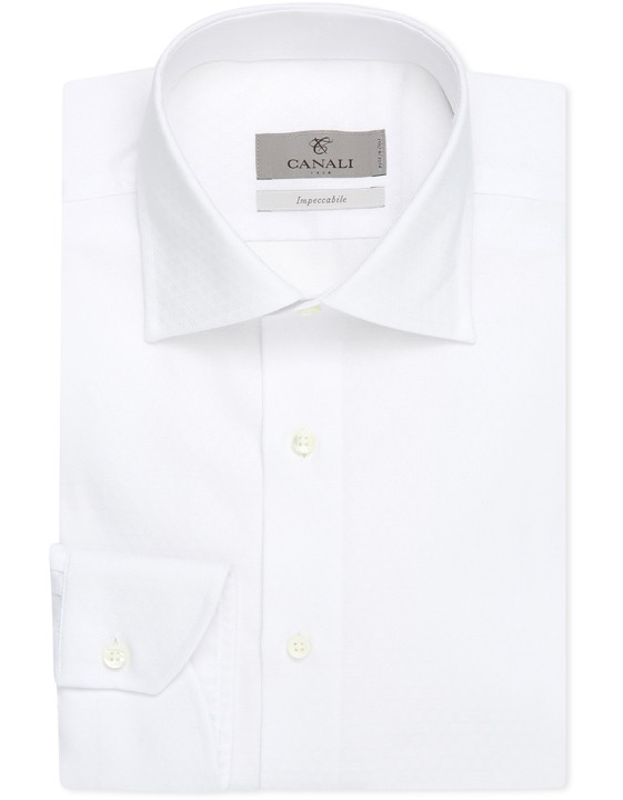 White Impeccabile dress shirt in cotton with diamond motif