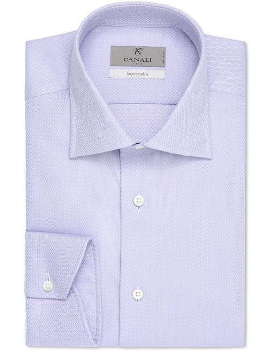 Purple Impeccabile dress shirt in cotton with optical motif