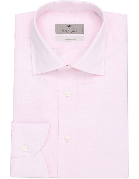 Light pink Impeccabile dress shirt in textured cotton-linen blend