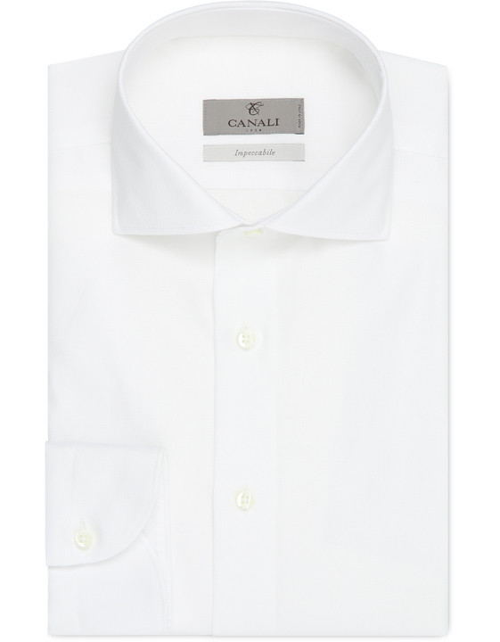 White Impeccabile cotton slim fit shirt