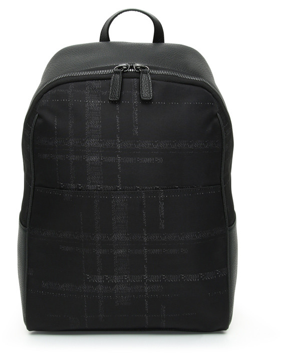 Black calfskin backpack with technical fabric insert