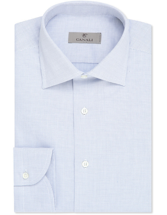 Micropois cotton modern fit shirt white and blue