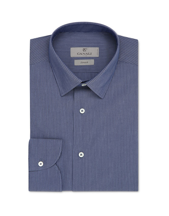 Blue pinstripe motif dress shirt in cotton blend