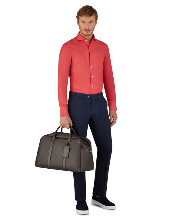 Navy chino pants in stretch cotton
