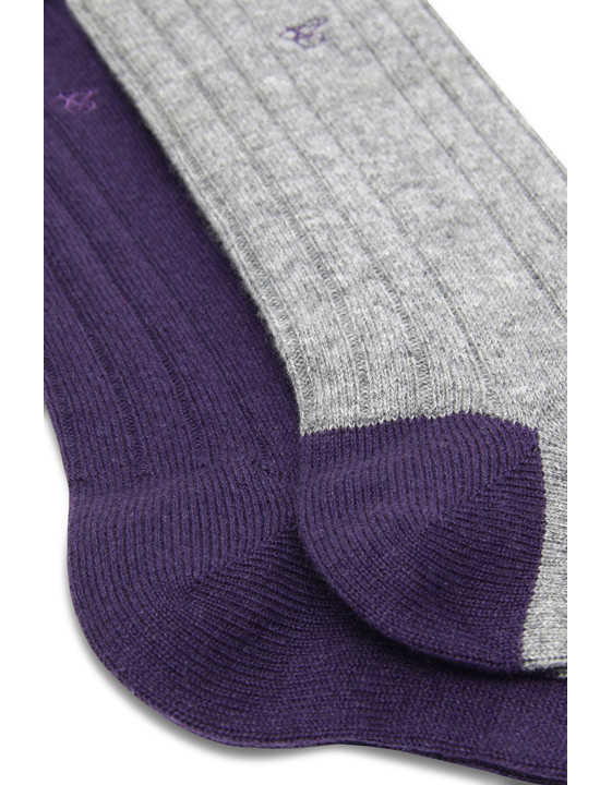 Purple and Gray Cashmere sock two-pack