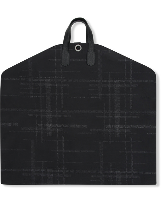 Black calfskin garment bag with technical fabric insert