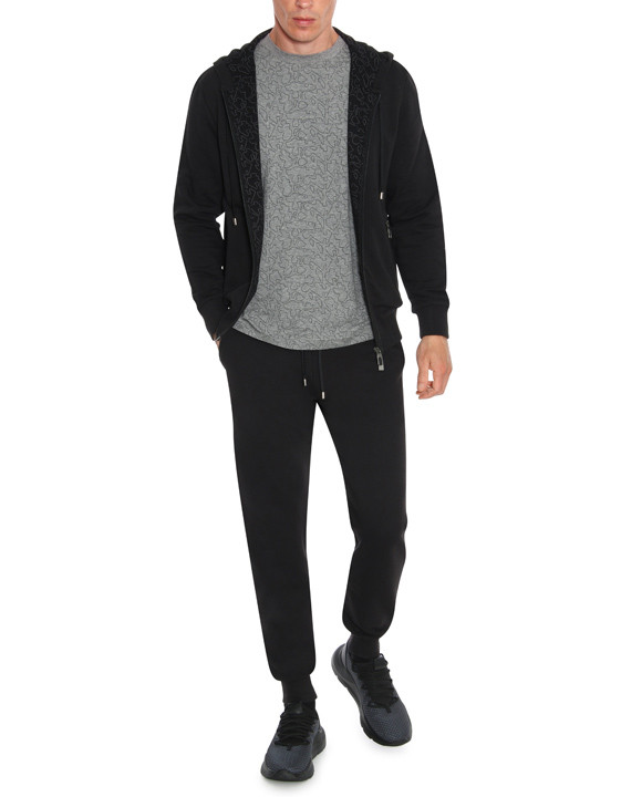 Black hooded cotton sweater  - Black Edition