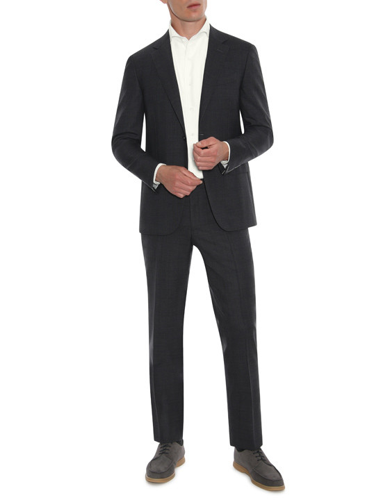Anthracite and burgundy wool suit - Exclusive
