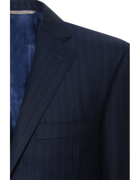 Exclusive striped wool suit blue