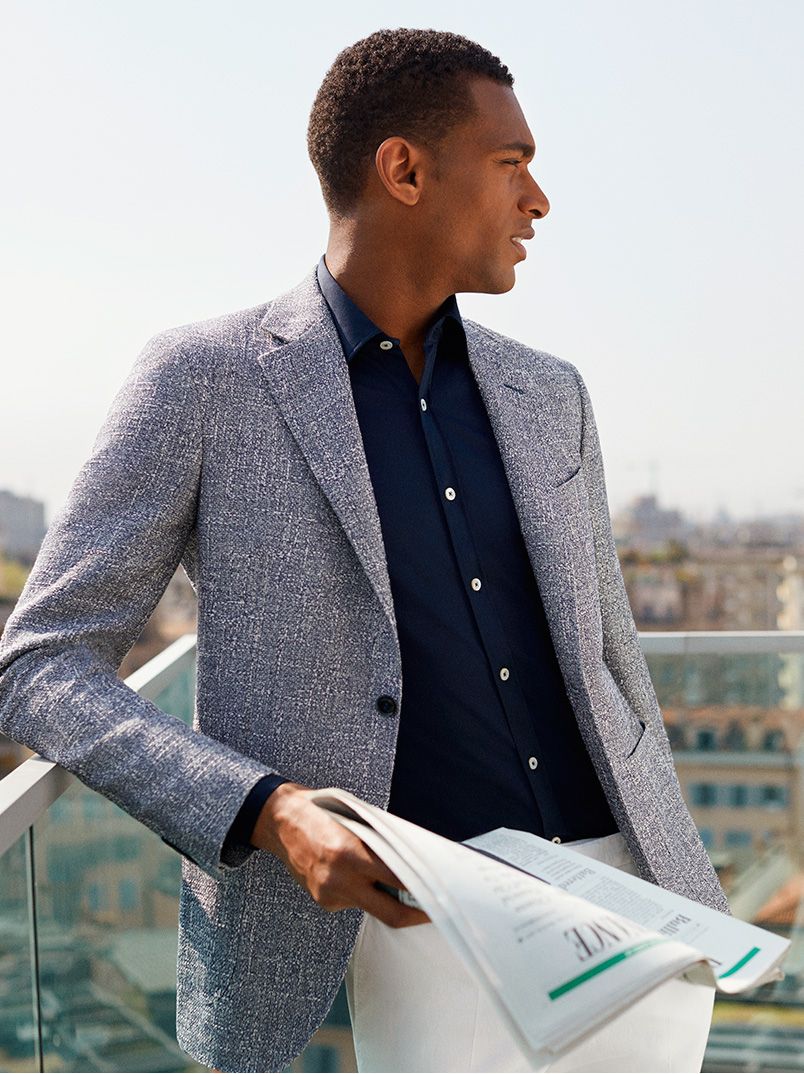 The perfect look for a cocktail on the terrace: a light Kei Blazer | Canali