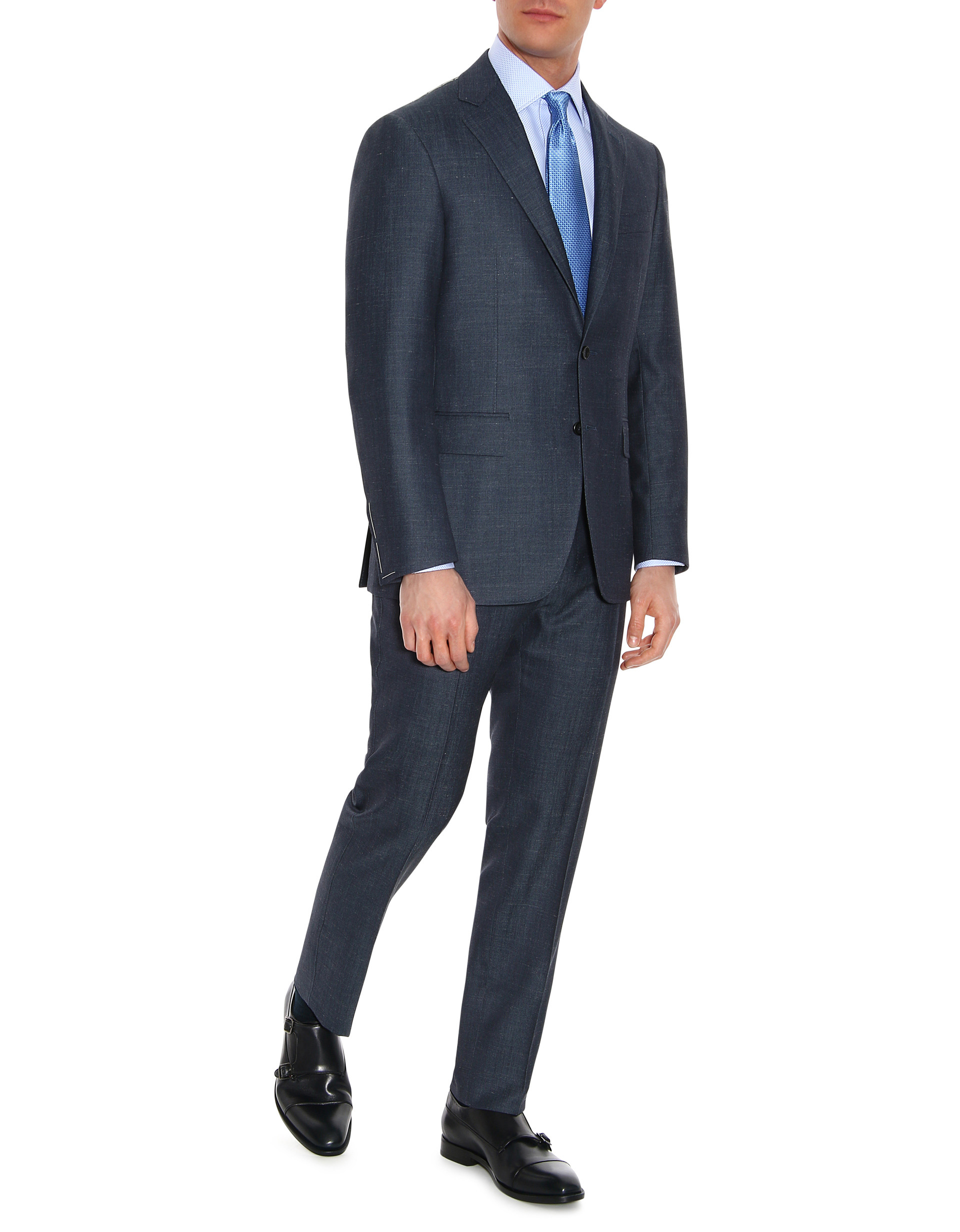 Blue super 150's wool-silk suit with Top Construction